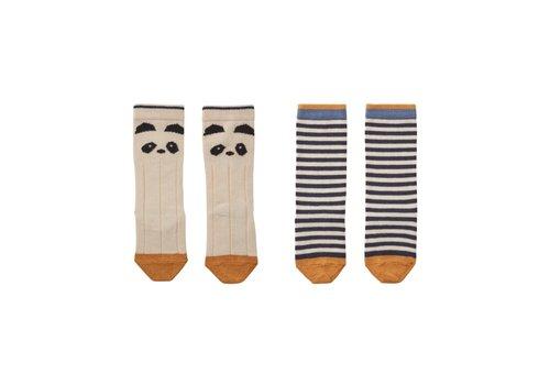 Liewood Sofia knee socks 2pcs Cat/stripe coral blush