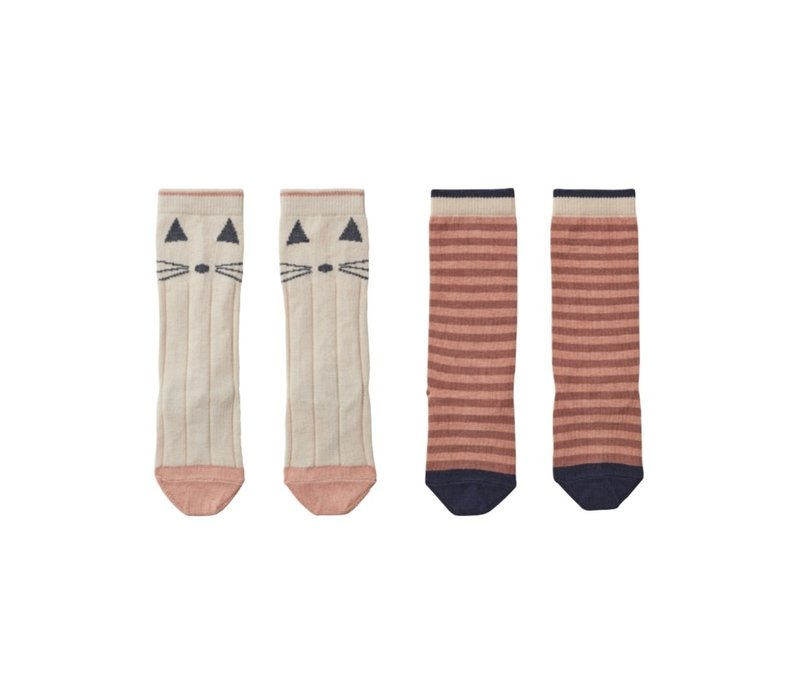 Sofia knee socks 2pcs Cat/stripe coral blush
