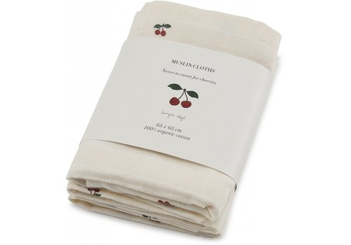 Konges Sløjd Muslin cloths 3st cherry