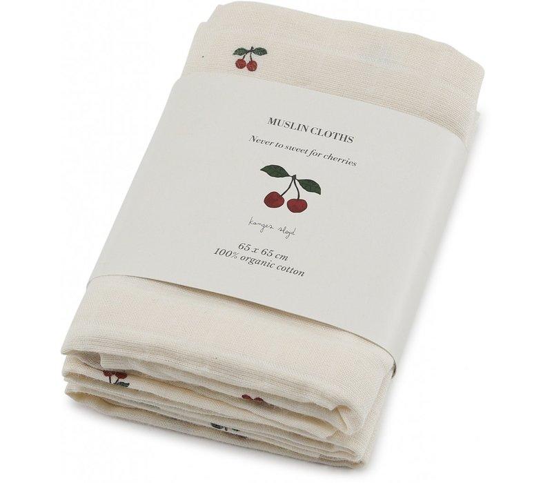 Muslin cloths 3st cherry