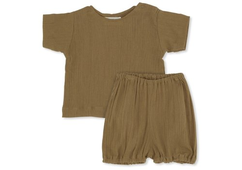 Konges Sløjd High twist boy tee + bloomer dark honey