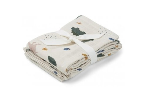 Liewood Hannah swaddle 70x70 cm set 2pcs Dino mix