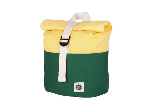 Blafre Roll-top backpack 1-4y dark green/light yellow