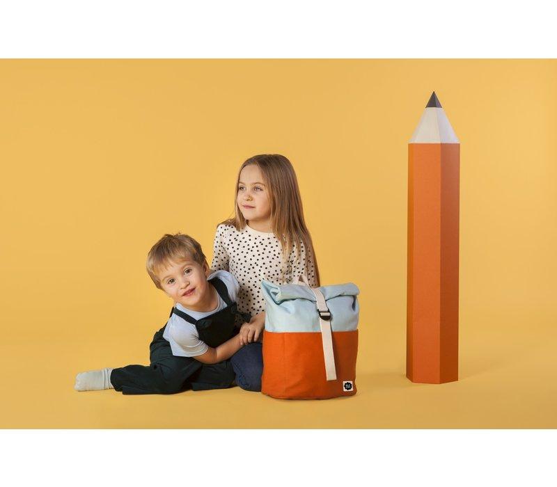 Roll-top backpack 3-7y orange/light blue