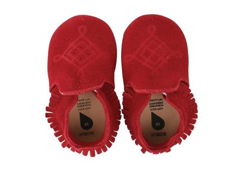 Bobux Soft Soles Suede mocassin red