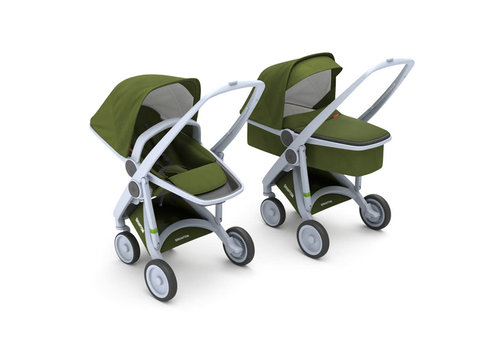 Greentom 2-in-1 Carrycot & Reversible Grey/Olive
