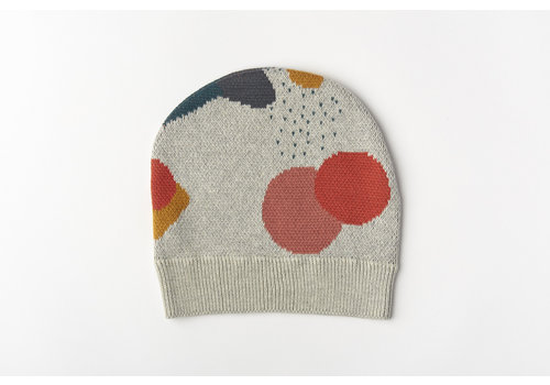 mundo melocotón Beanie organic knitwear jacquard multicolor