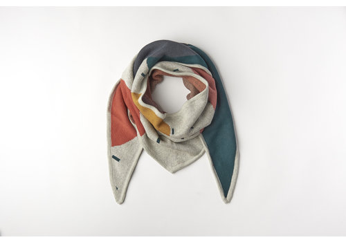 mundo melocotón Triangle scarf organic knitwear jacquard multicolor Mom 210x70cm