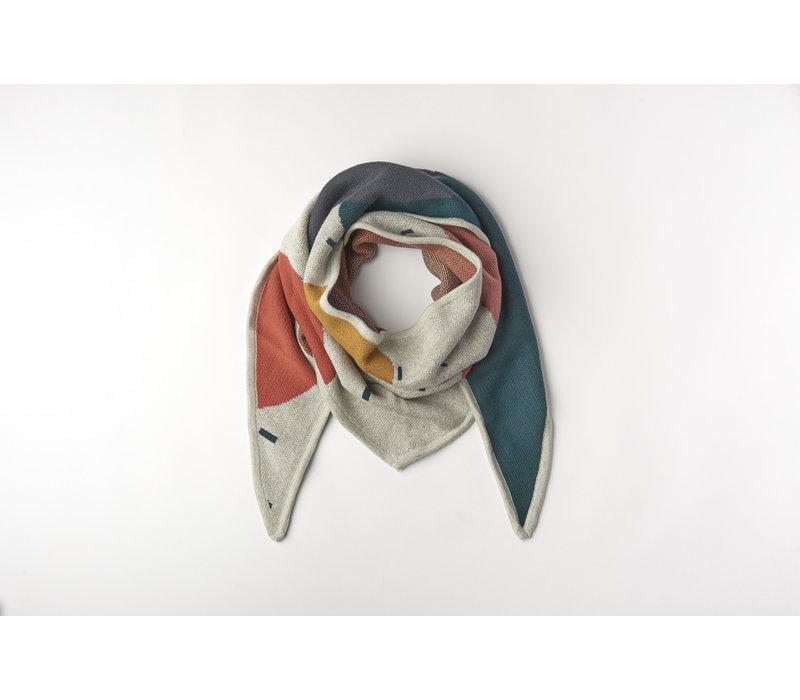 Triangle scarf organic knitwear jacquard multicolor Mom 210x70cm