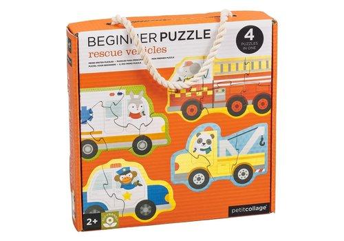 Petit Collage Eerste puzzel - Reddingswagens