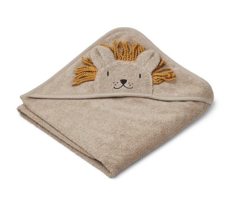 Albert hooded towel Lion stone beige