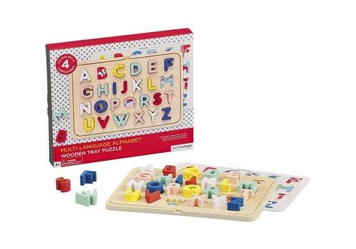 Petit Collage multi-language alphabet wood tray puzzle