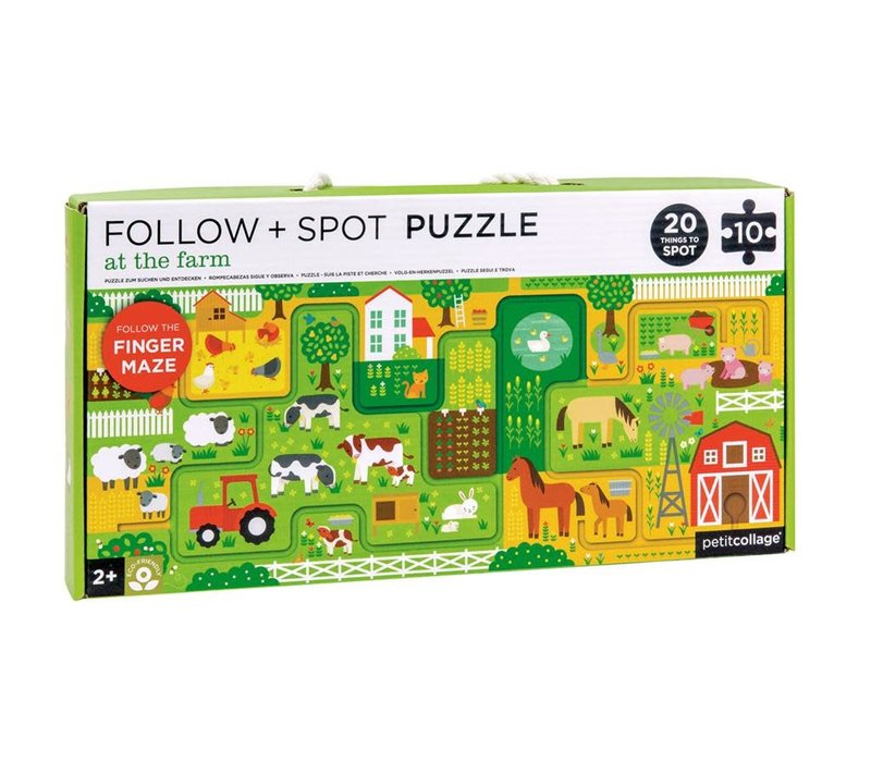 Follow and spot puzzle - At the farm