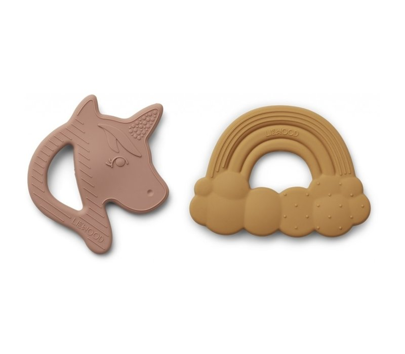 Roxie silicone teether - 2 pack Rose mix