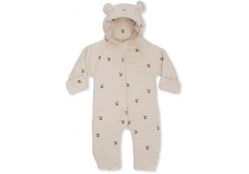 Konges Sløjd New born onesie with hood Cherry/blush
