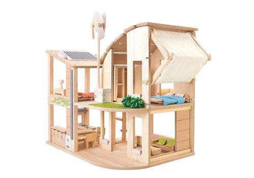 PlanToys Groen poppenhuis met toebehoren