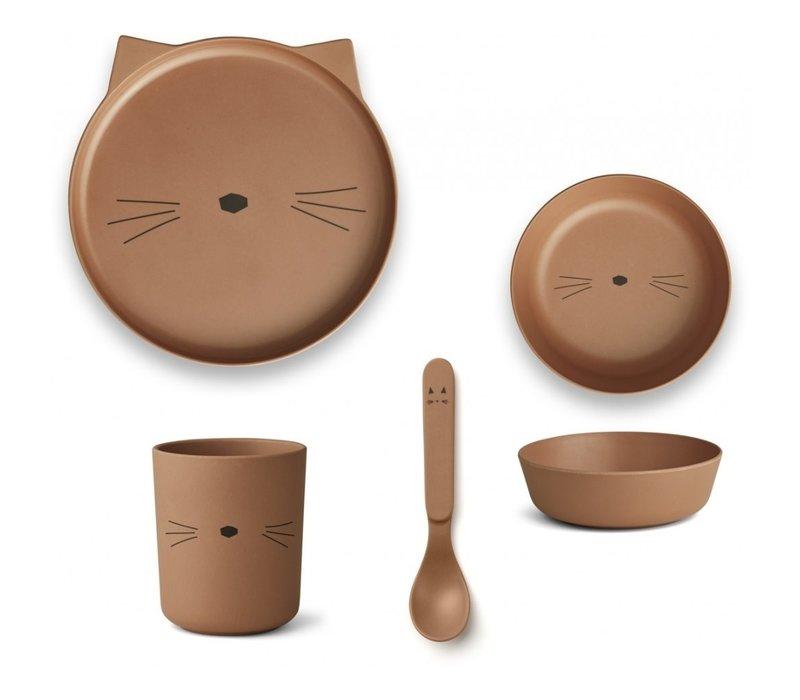 Bamboe eetset Cat terracotta