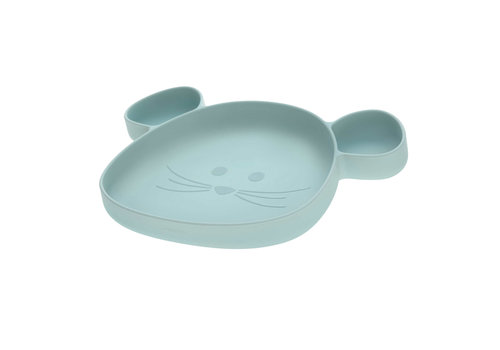 Lässig Section Plate Silicone Little Chums Mouse blue