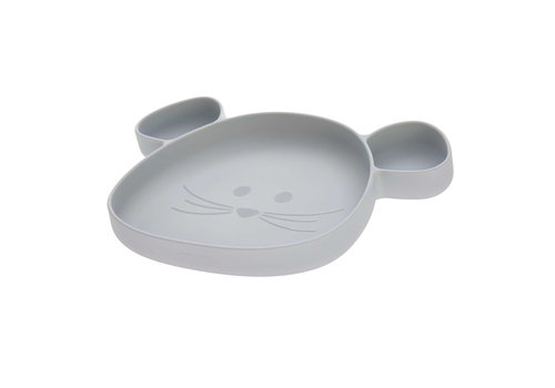 Lässig Section Plate Silicone Little Chums Mouse grey