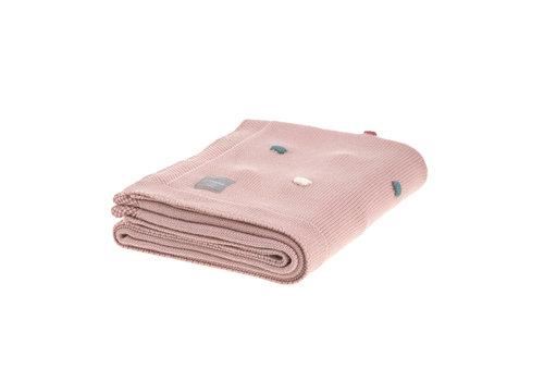 "Lässig Knitted Blanket GOTS ""Dots"" 80x110cm dusky pink"
