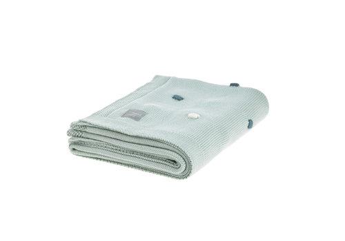 """Lässig Knitted Blanket GOTS """"Dots"""" 80x110cm light mint"""
