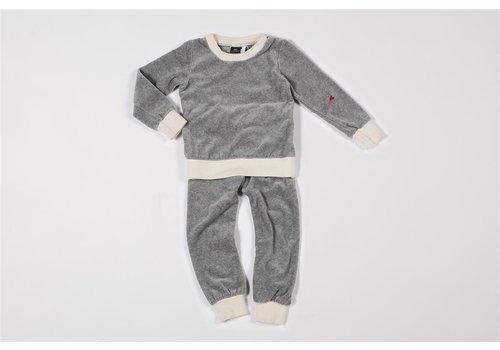 mundo melocotón Pyjama 2-delig organic velours grijs melee/off-white