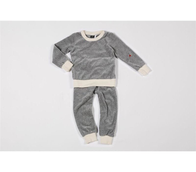 Pyjama 2-piece organic velvet grey melee/off-white