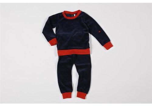 mundo melocotón Pyjama 2-delig organic velours retro blauw/chili