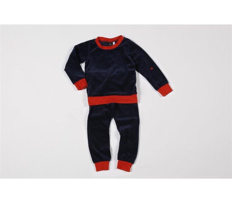 Pyjama 2-delig organic velours retro blauw/chili