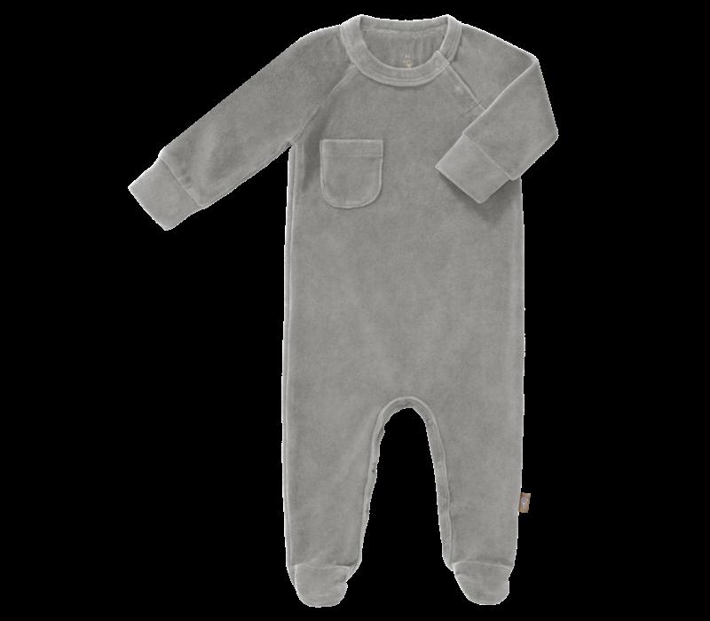 Pyjama velours met voet Paloma grey