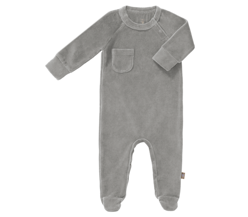 Velours Playsuit with feet Paloma grey