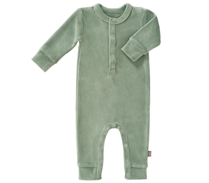 Velours playsuit no feet Forest green