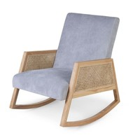 Canné wood adult rocking chair grey