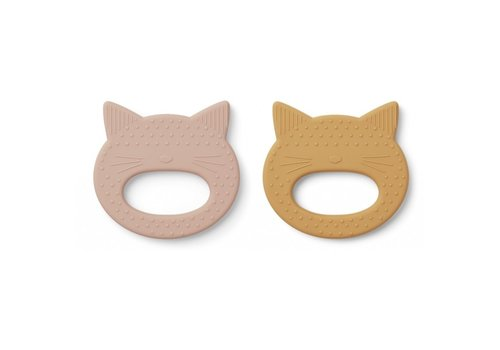 Liewood Geo teether 2 pack Cat rose/yellow Mellow