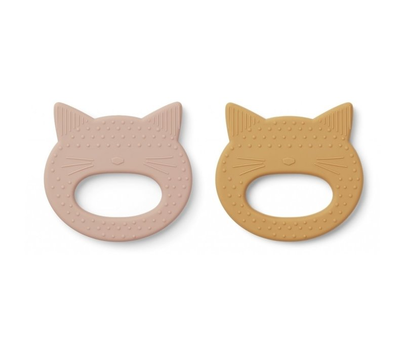 Geo teether 2 pack Cat rose/yellow Mellow