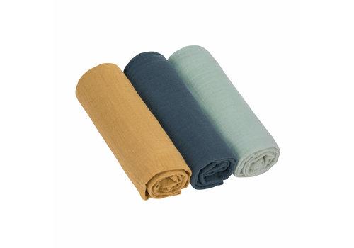 Lässig Swaddle & burp blanket L 3 pcs assorted Green/navy/mustard