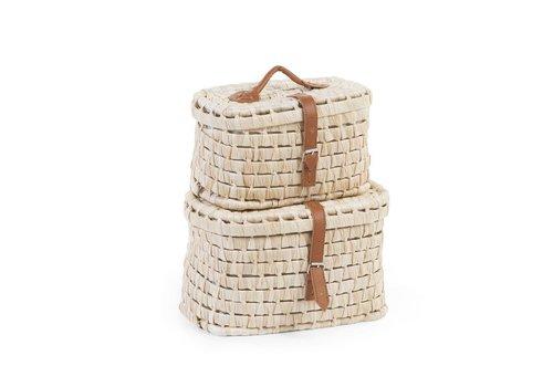 Childhome Maïskolf koffers met leren riemen 2st