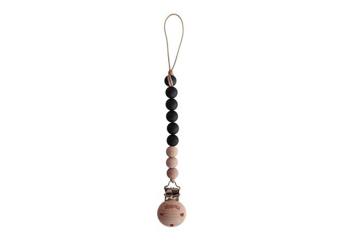 Mushie Fopspeenketting black/wood