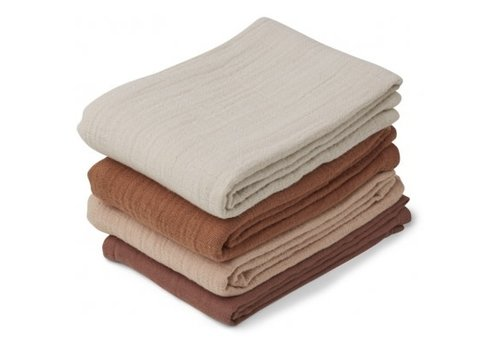 Liewood Leon Muslin Cloth - 4 Pack Rose Mix