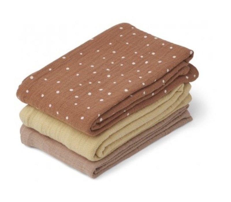 Line Muslin cloth - 3 pack Confetti terracotta mix