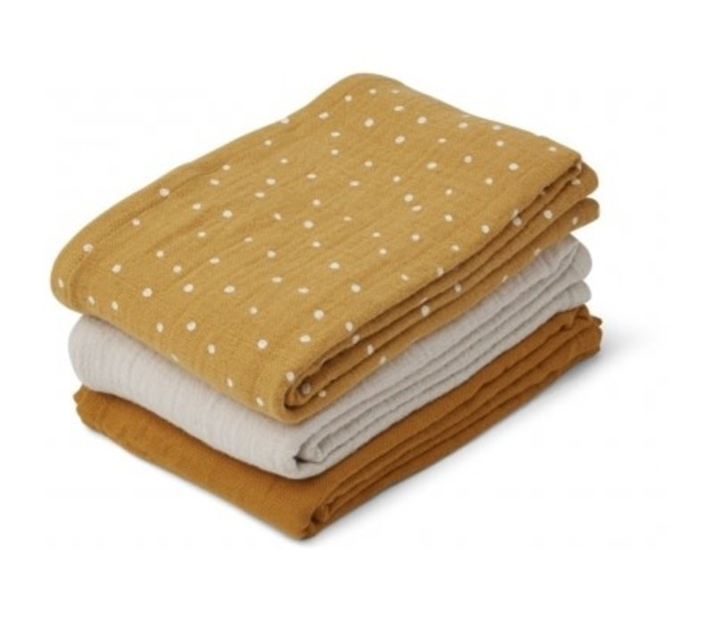 Line Muslin cloth - 3 pack Confetti yellow mellow mix