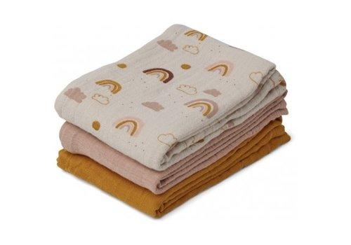Liewood Line Muslin cloth - 3 pack Rainbow love mix