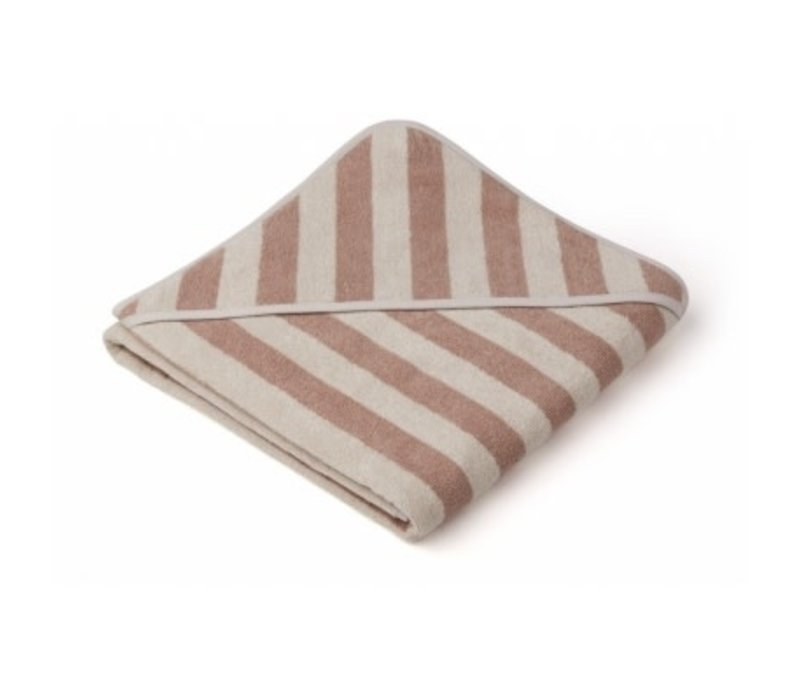 Louie Hooded towel Rose/sandy stripe
