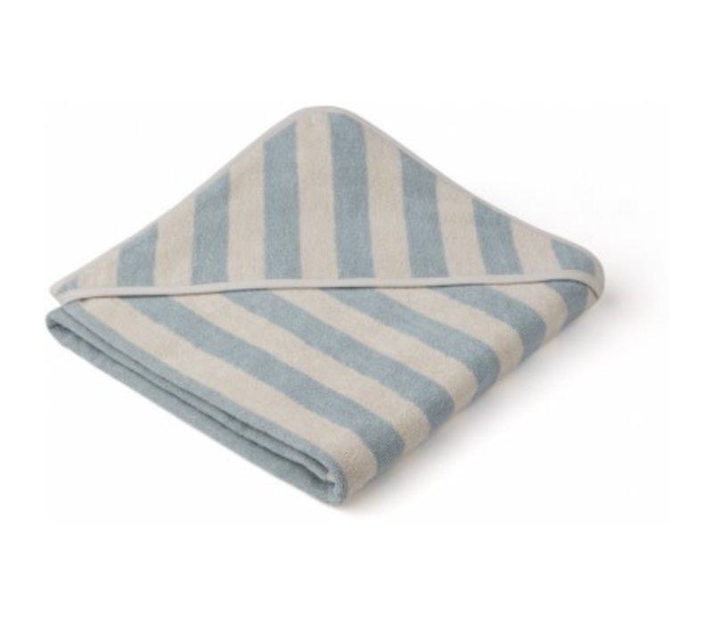 Louie Hooded towel Sea blue/sandy stripe