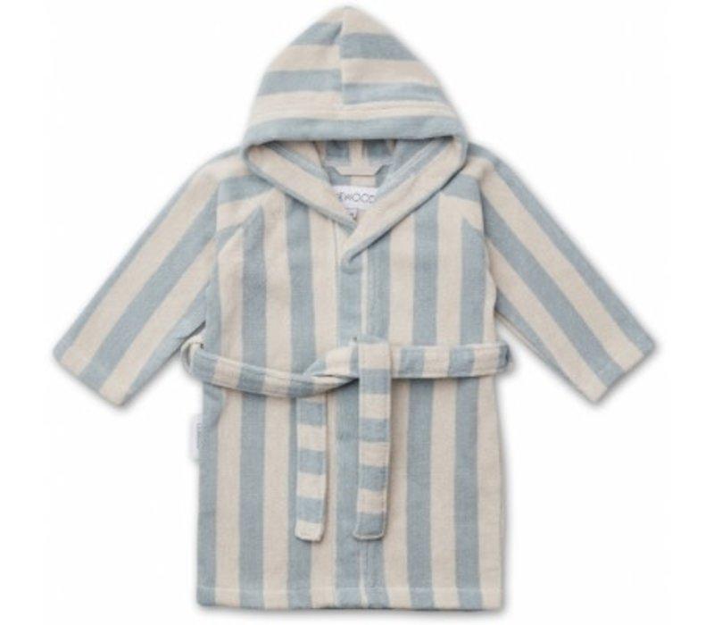 Reggie bathrobe Sea blue/sandy stripe
