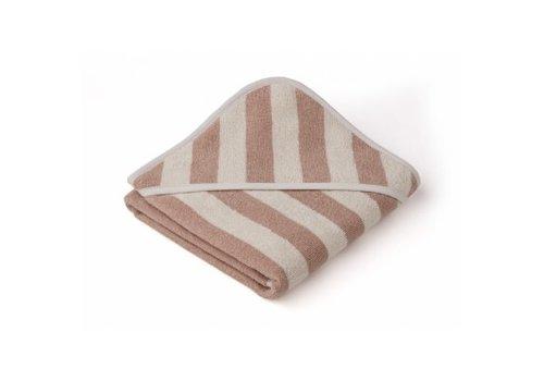 Liewood Alba hooded towel Rose/sandy stripe