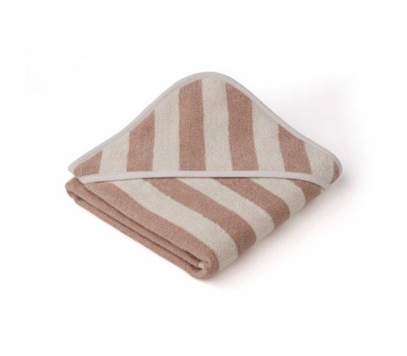Alba hooded towel Rose/sandy stripe
