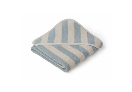 Liewood Alba hooded towel Sea blue/sandy stripe