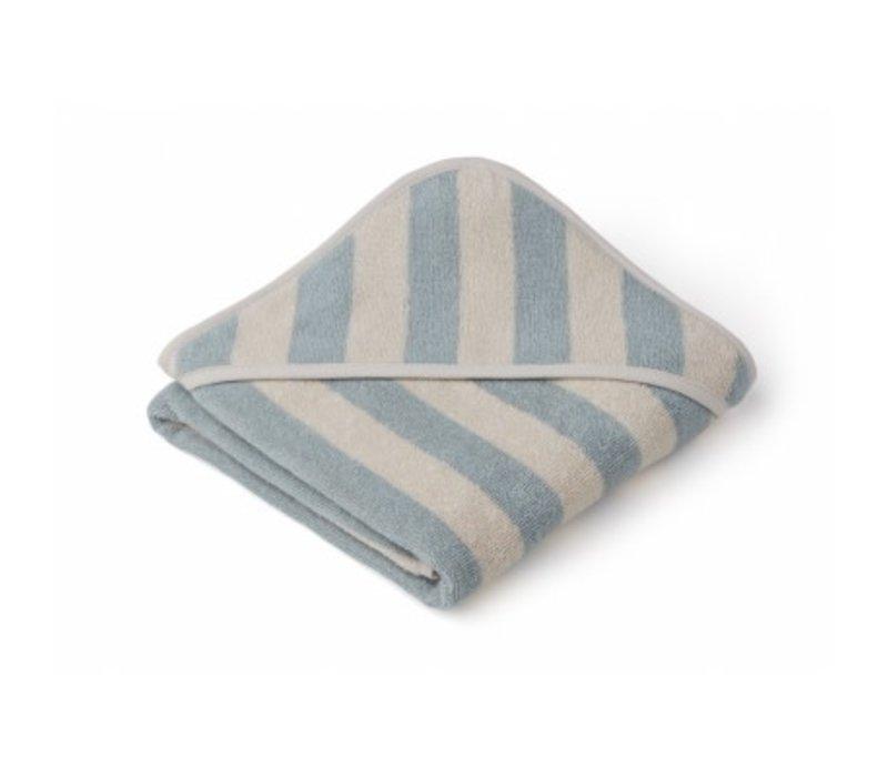 Handdoek Alba 70x70 Sea blue/sandy stripe