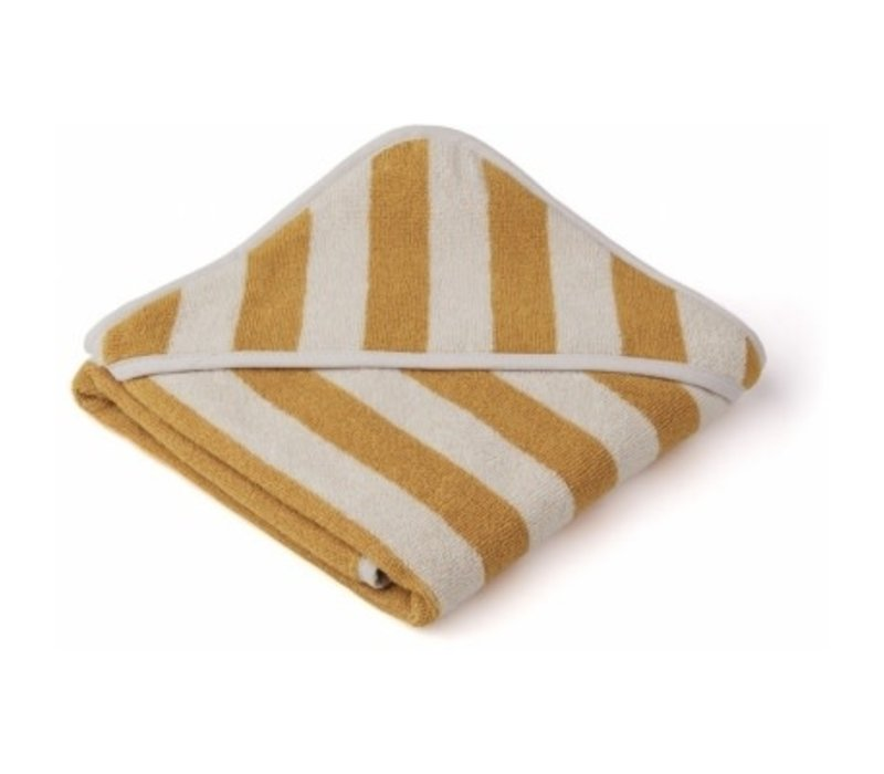 Alba hooded towel Yellow mellow/sandy stripe